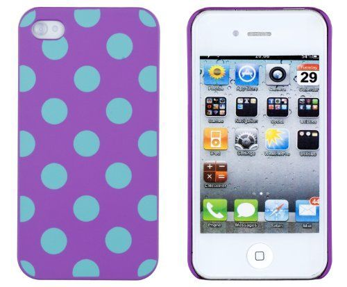 PurpleAqua Polka Dot Embossed Hard Case for Apple iPhone 4 4S ATT Verizon Sprint  Includes DandyCase Keychain Screen Cleaner Retail Packaging by DandyCase * Learn more by visiting the image link.