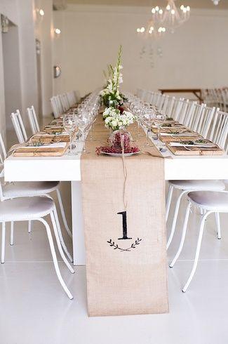 16 DIY Wedding Table Runner Ideas | Confetti Daydreams - DIY Hessian Cloth Table Runner. Get our DIY Tips here! ♥ #Wedding #Table #Runners #DIY ♥  ♥  ♥ LIKE US ON FB: www.facebook.com/confettidaydreams  ♥  ♥  ♥ ♥ ♥ ♥