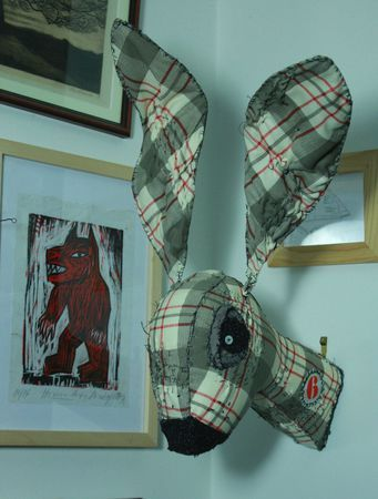 lapin 1 Textile and wire of Justine and Cow......Amazing