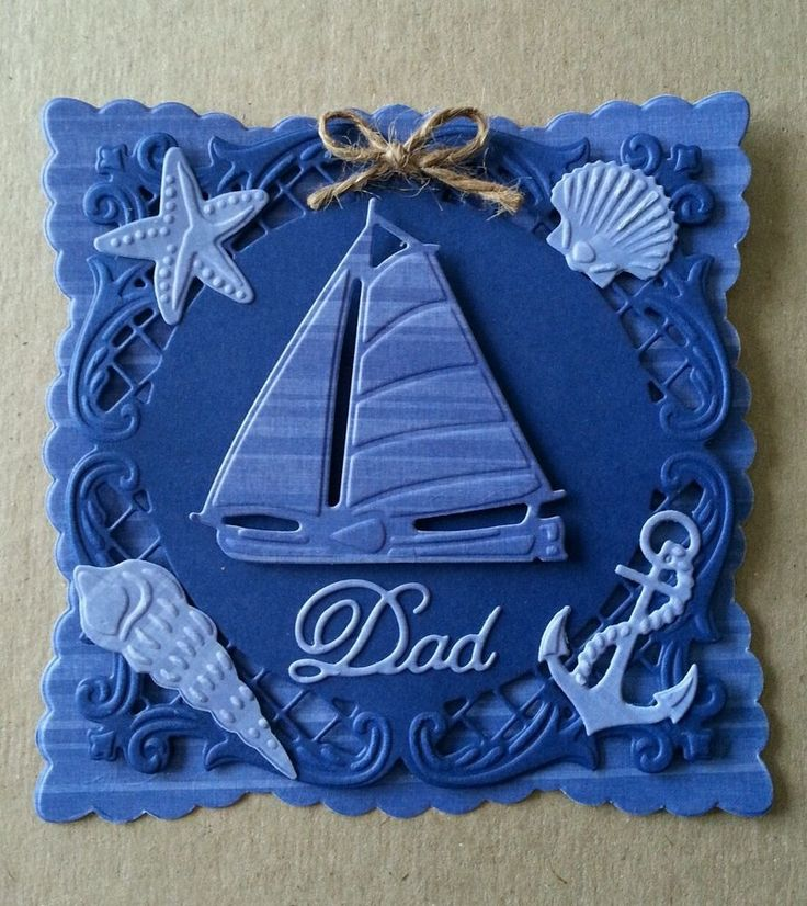Handmade Nautical Sail Boat Shell Anchor Fathers Day Dad Card 3D die-cut Topper