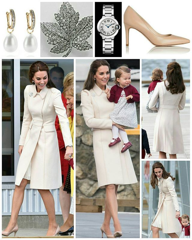 The Cambridges' eight-day tour of Canada concluded this afternoon when the family arrived at Victoria Harbour seaplane terminal. The Duchess wore a cream coat by Catherine Walker. She also wore a plated dress underneath. Kate accessorised with the Queen's Maple Leaf Brooch. It seemed entirely fitting to wear the brooch, which is steeped in royal history, for the departure as she also wore it on arrival. Aesthetically speaking, it really sparkled ...