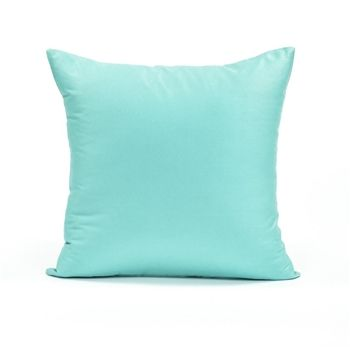 "16"" X 16"" Solid Tiffany Blue Throw Pillow Cover for my Bed, and chair in corner by window"