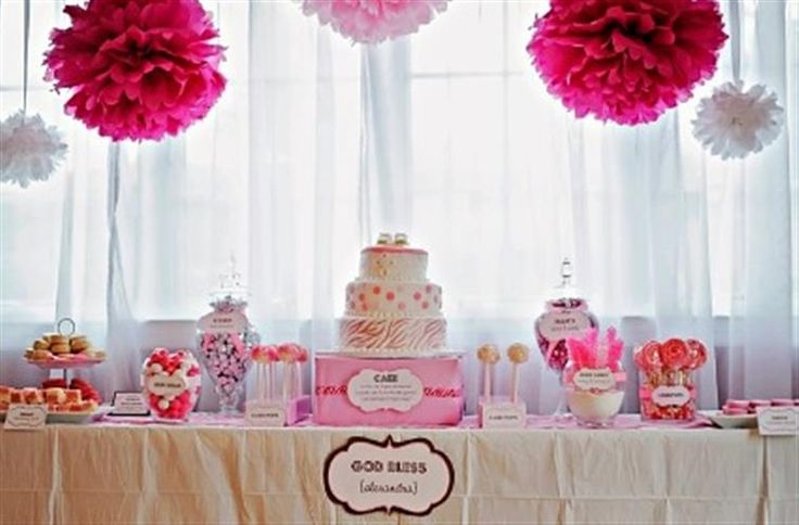 Pink zebra baby shower ideas and decorations baby showers baby showers and babies - Pink baby shower table decorations ...