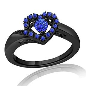 0.35 Ct Blue Sapphire Heart Shape Promise Ring In Sterling Silver by JewelryHub on Opensky