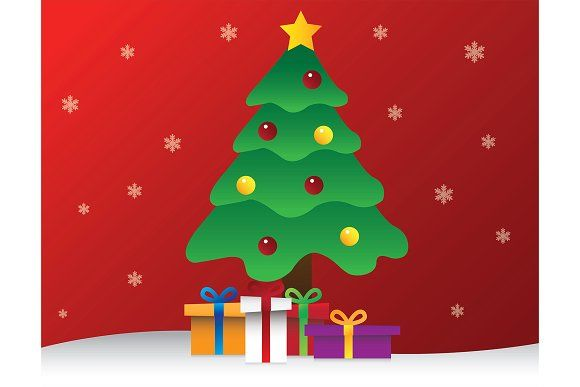 CHRISTMAS TREE WITH PRESENT BOXES by charnsitr on @creativemarket