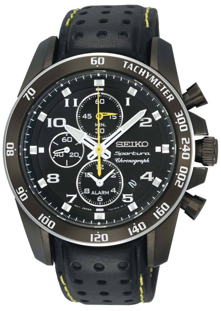 Seiko Sportura, Alarm Chronograph Watch, With leather strap and yellow accents, SNAE67  www.SeikoUSA.com