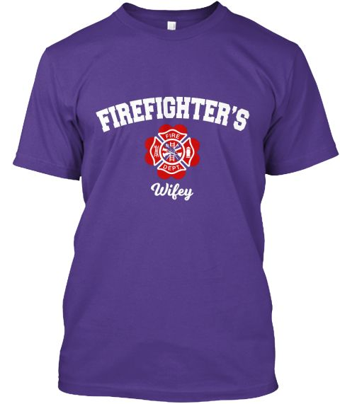 Firefighter's Wife Purple T-Shirt Front