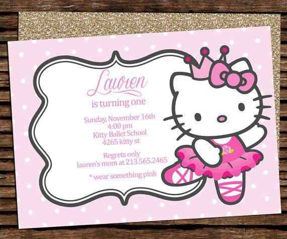hello kitty birthday invitation party hello kitty ballerina digital listing by graphicsmarket - Hello Kitty Party Invitations