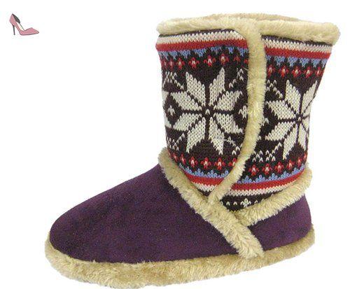 Refroidisseurs pour femme Prune Chaud Doublé Fourrure Bottes Velcro Pantoufles - Violet - violet, 37 - Chaussures coolers (*Partner-Link)