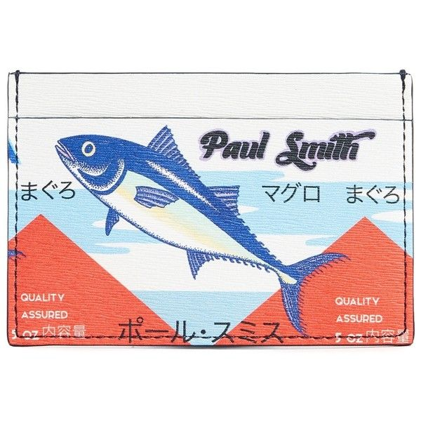 Paul Smith Tuna Mackeral Print Card Case (6,180 THB) ❤ liked on Polyvore featuring men's fashion, men's bags, men's wallets, multi, mens leather credit card holder wallet, paul smith mens wallet, mens credit card holder wallet, mens card holder wallet and mens slim wallets