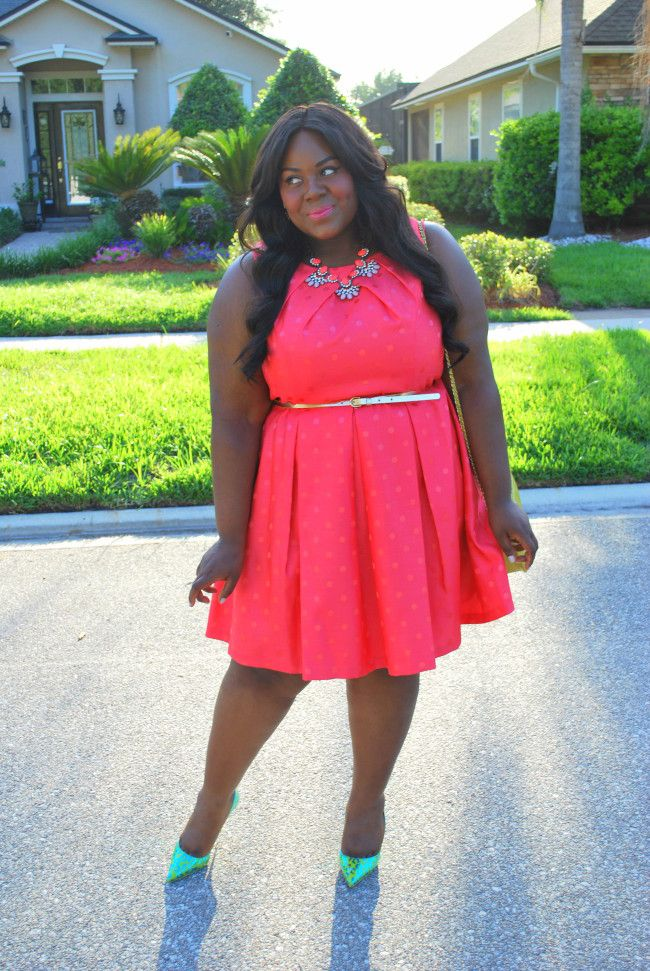 Musings of a Curvy Lady, Plus Size Fashion, Fashion Blogger, Women's Fashion, Gwynnie Bee, People Style Watch, Fit and Flare Dress, Polka dot Print dress, Sophia Webster , Sophia Webster Lola Pumps, Mint and Lolly, Statement Necklace