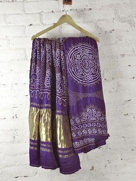 Purple Zari Satin Silk Bandhani Saree