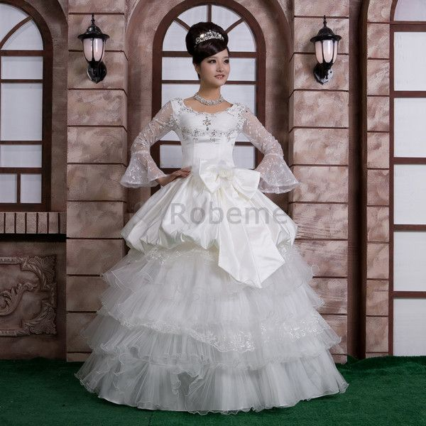 Robe de mariée gonflé romantique de traîne mi-longue en chute avec gradins