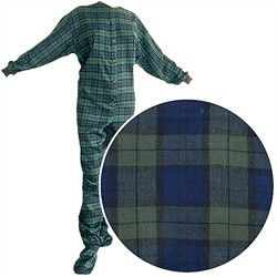 Big Feet PJs Green Plaid Flannel Footed Pajamas for Women and Men, #ShopbyHoliday, #38844