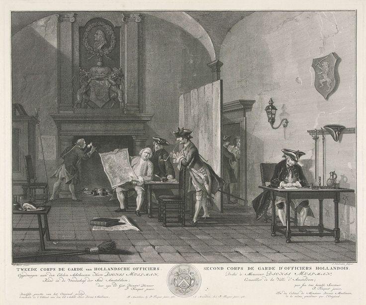 Jacob Houbraken | Tweede corps de garde van Hollandsche officiers, Jacob Houbraken, Pierre Fouquet (Jr.), Dionys Muilman, 1760 | Een interieur met verschillende officieren. Rechts zit een man aan een schrijftafel, links is een man bezig met vuur uit de open haard, in het midden kijken drie heren op een kaart. Boven de schoorsteen een wapenschild en daarboven een met een lauwerkrans omgeven portret van een man en profil.