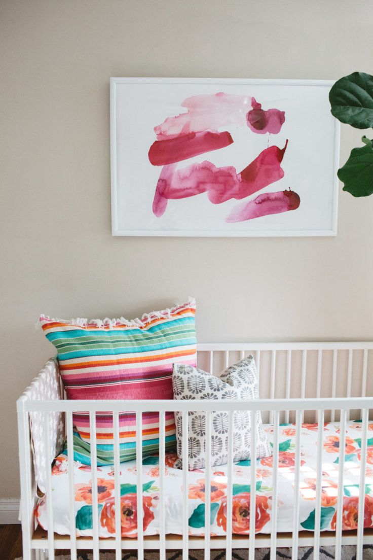 Pink mint and gray baby girl nursery project nursery - Pink Watercolor Art Print Above A Crib