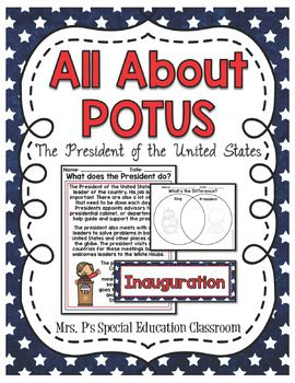 Teach your students what it's like to be President of the United States with All About POTUS Mini Unit! This unit includes:-8 Themed Word Wall Cards-2 Graphic Organizers (KWL, Venn Diagram)-Presidential Oath-1 Differentiated Writing Prompt-3 Readers with Comprehension QuestionsGreat to use for Inauguration 2017, President's Day, Election Day!**Used in a Center-Based Special Education Classroom**Follow Me on Facebook: Mrs.