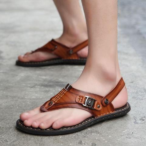 ed85916ba9 2018 LAISUMK Summer Genuine Leather Sandals Men Casual Sandals Leather  Beach Slippers Fashion Male Flip Flops Sandalias-Touchy  Style-Black-5-TouchyStyle