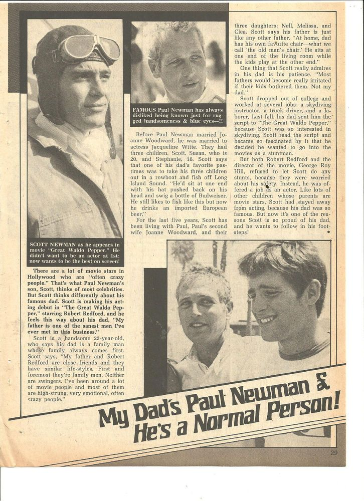 Paul Newman, Full Page Vintage Clipping, Scott Newman