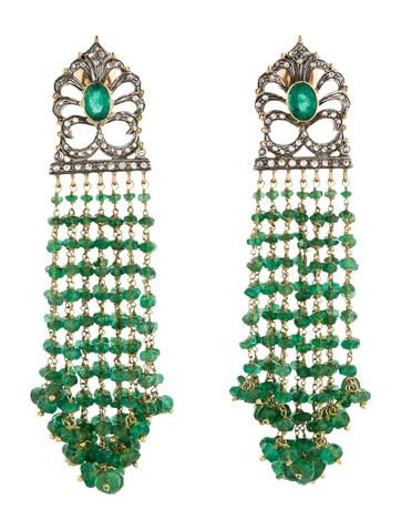 71.75ctw Amrapali Jewels Emerald Tassel Drop Earrings with Diamonds