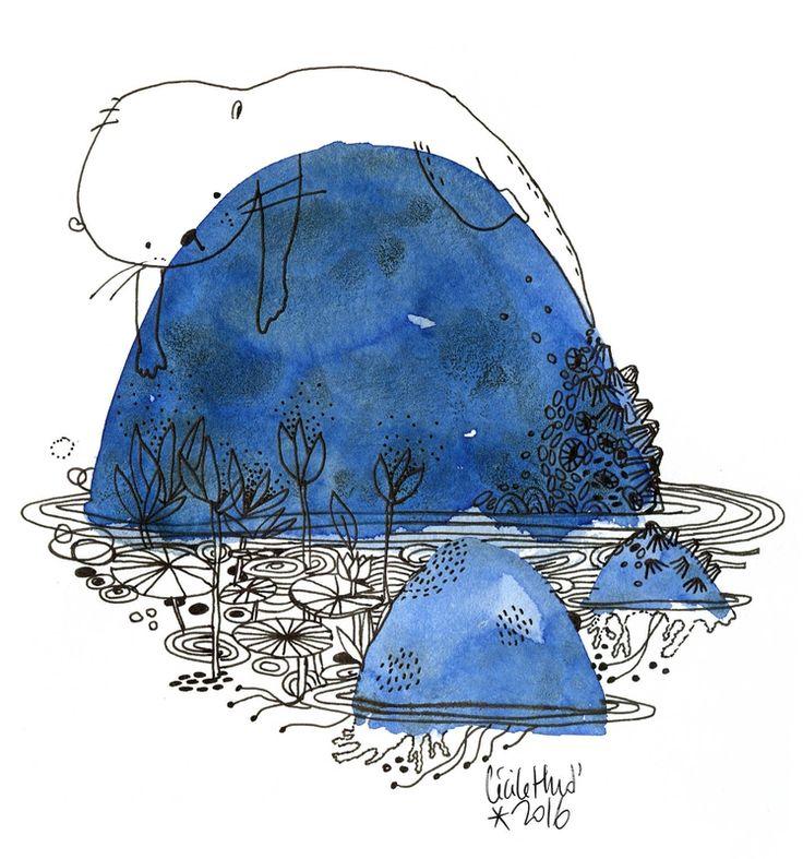 loutre rocher, inktober2016, Cécile Hudrisier