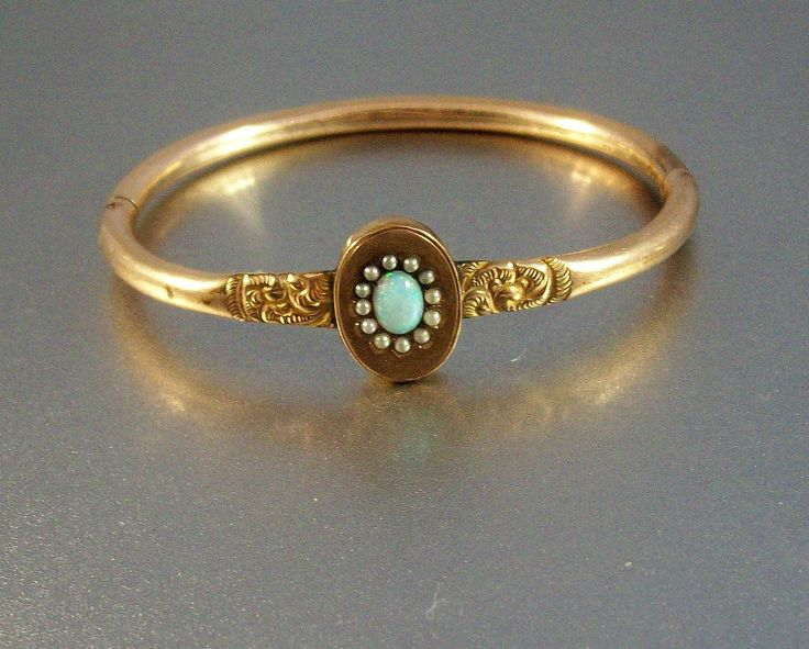 Victorian Gold Filled Fire Opal and Seed Pearl Bangle Bracelet