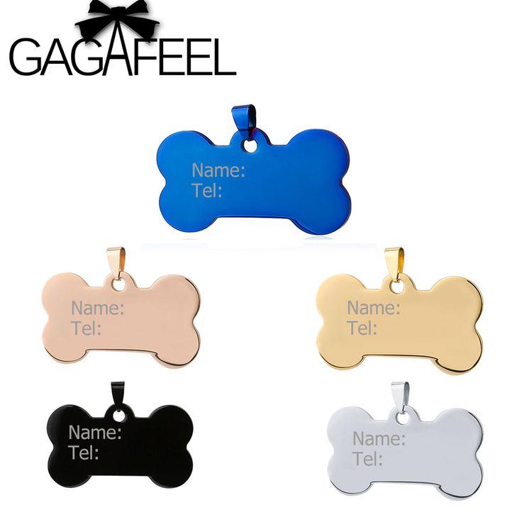 GAGAFEEL Acero Inoxidable Neklace Grabar Texto Personalizado etiquetas de IDENTIFICACIÓN de Mascotas Perro Etiqueta de Identificación Personalizada Nombre Dirección teléfono