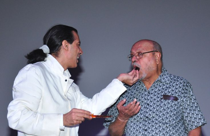 Neville Tuli and  Shyam Benegal  at the Shyam Benegal Retrospective at Osianama at Liberty