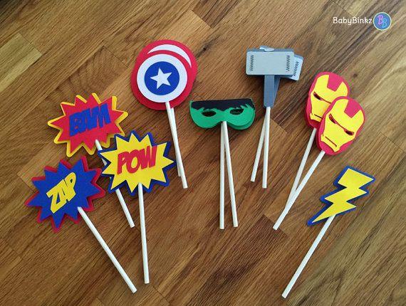 Die Cut Avengers Super Hero Cupcake Toppers  marvel by BabyBinkz