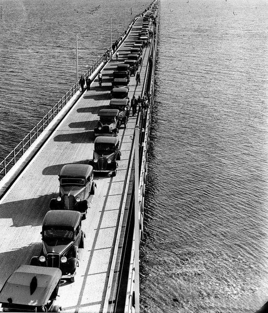 Aerial view of cars and pedestrians on the Hornibrook Highway Bridge Redcliffe 1935