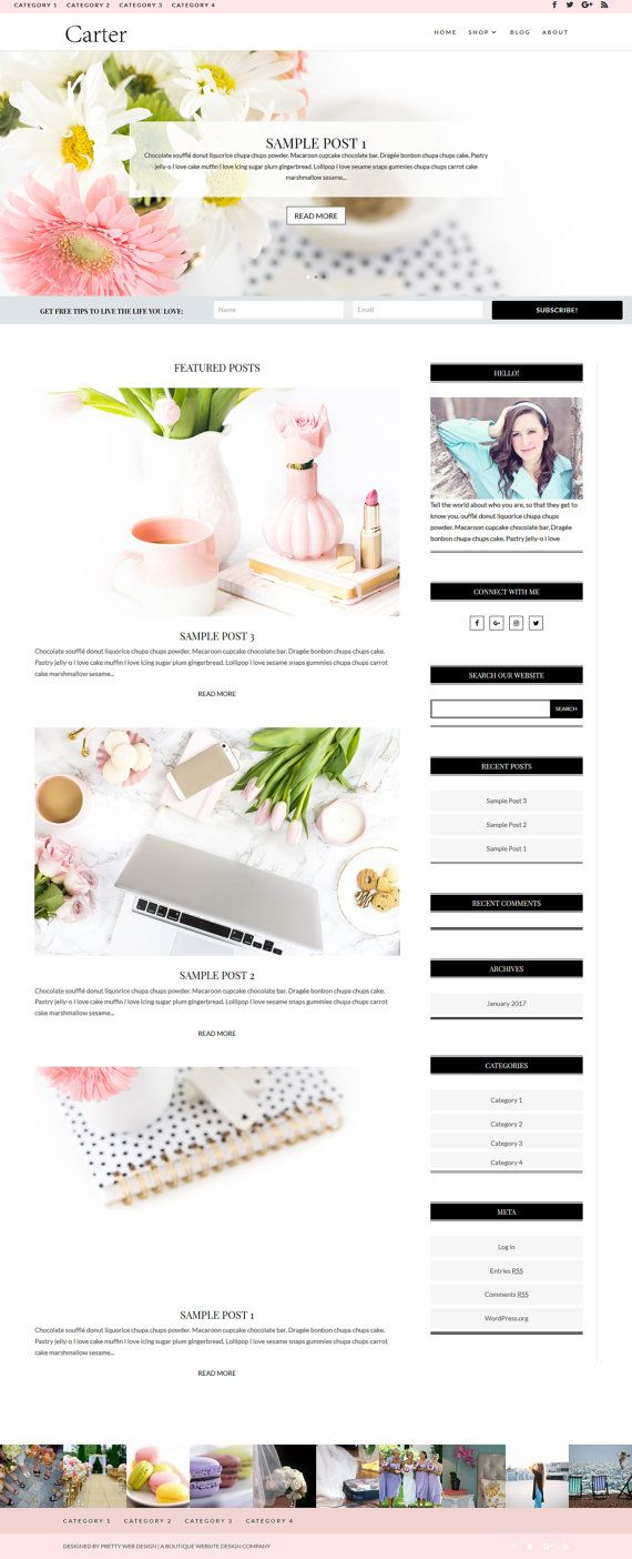 Carter  #WordPress #Theme #Template #blog #blogger #girlboss #entrepreneur #smallbusiness #custom #website #design #feminine #web
