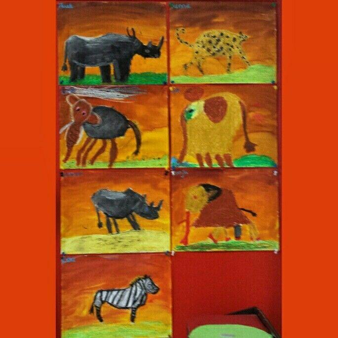 Thema Afrika Natekenen van dieren met wasco en ecoline   Kleuters