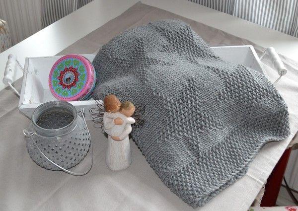 Diese Baby-Decke misst ca. 70 x 120cm, nachdem sie gewaschen und gespannt wurde. Es wurde die DROPS Big Merino und Nadeln 5mm verwendet.  Benötigt werden insgesamt ca. 450g Wolle.
