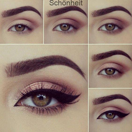 Marque sus ojos este maquillaje con sombras rosadas y gato demarcado …