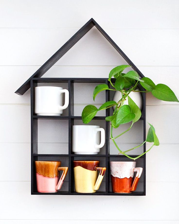 DIY house shaped shelf with simple step-by-step instructions