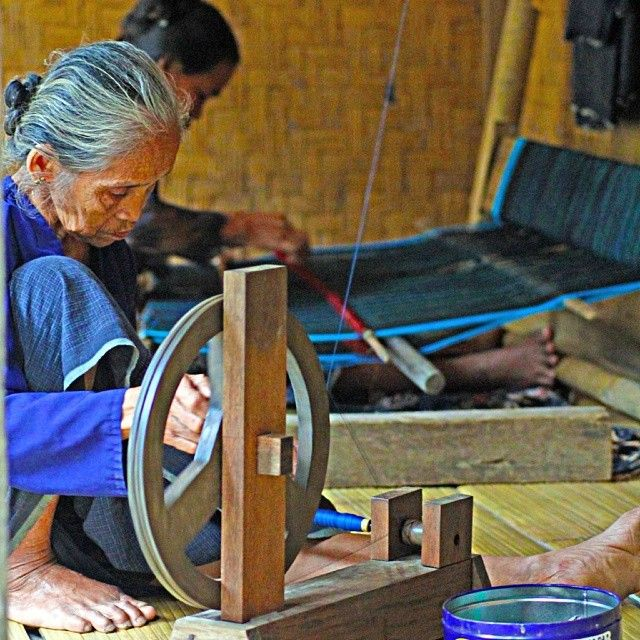 Traditional cloths (mostly blue) woven by Baduy women.