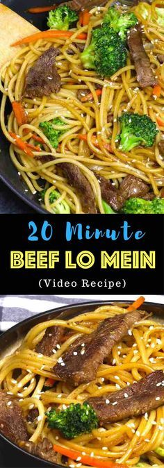 This Garlic Beef Lo Mein is a quick and easy version of classic Chinese dish. It's so much better than takeout and seriously addictive with tangy garlic and soy sauce flavors, the perfect weeknight dinner idea you can make in 20 minutes! All you need is only a few ingredients: flank steak, lo mein noodles, garlic, carrots, broccoli, sesame oil, soy sauce, hoisin sauce, ginger and brown sugar. One of the best easy Chinese dinner ideas! Quick and easy dinner recipe. Video recipe. | Tipbuzz.com…