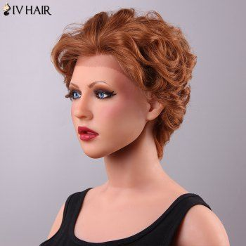 Fluffy Siv Hair Curly Short Lace Front Human Hair Wig For Women (AUBURN BROWN #30) in Front Lace Wigs | DressLily.com