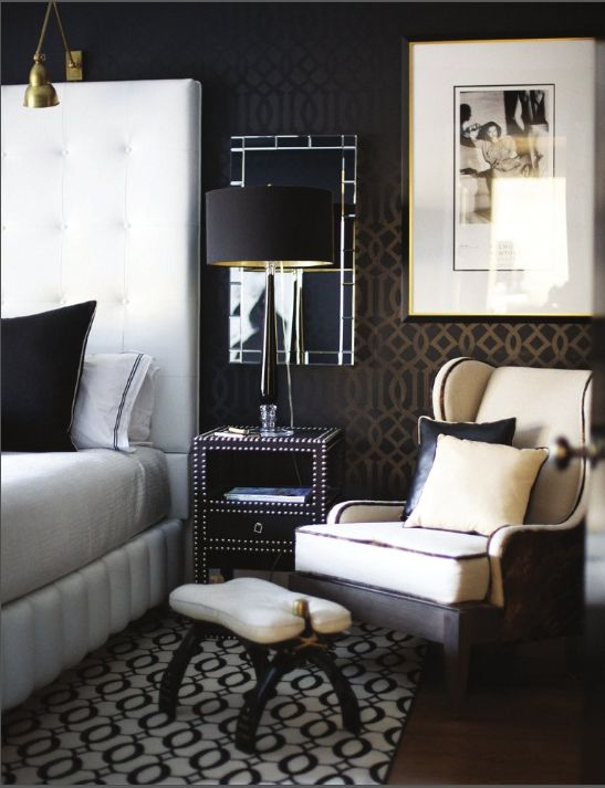 I love how masculine this bedroom is (except for the picture). Love the contrast of light and dark.
