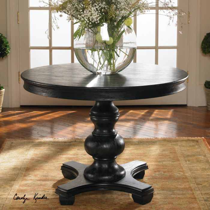 Foyer Entry Old World Brynmore Wood Grain Round Black Table