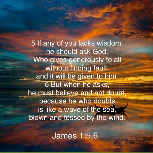James 1:5-6 ~ God gives wisdom and every good and perfect gift. Have I asked for wisdom? Have I thanked God for the good gifts he has given me?