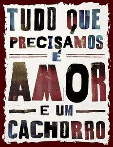 "Placa Decorativa ""Amor e Cachorro"" 24 x 31cm"