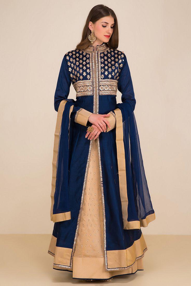 HOUSE OF OMBRE blue anarkali style lehenga set #Flyrobe #Bride #Wedding #Lehenga #IndianWedding #designer #designerlehenga #lehengacholi
