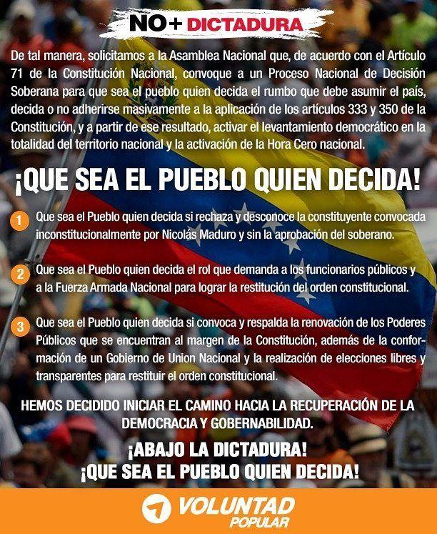 El pueblo es quien decide!  Así como más de 14 millones de venezolanos votaron por la Asamblea Nacional hoy todos los ciudadanos tenemos el derecho de elegir si se rechaza y desconoce el fraude de la Constituyente.  Vamos a defender nuestra Constitución y nuestro país hasta el final. Basta de DICTADURA! #QueElPuebloDecida