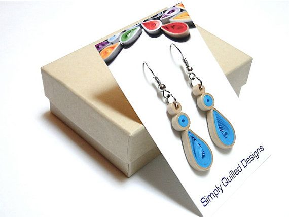 Simply Quilled Paper Earrings in Bright by SimplyQuilledDesigns