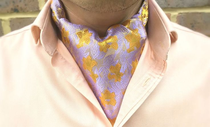 HUA Woven Silk Cravat  #menswear #style #cravat #ascot #cravats #silkcravat #ascottie #ascots #silkascot #silkcravats #mens #fashion #dapper #dandy #groom #wedding #groomswear #weddingidea #weddinginspiration #french #lilac #yellow #floral #flowers