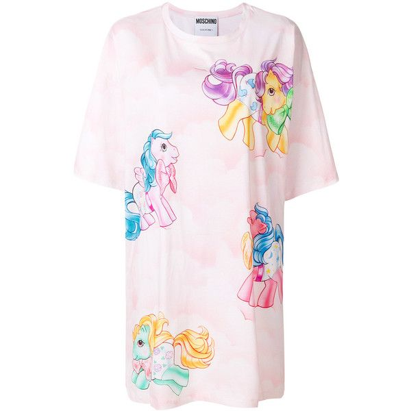 Moschino My Little Pony T-shirt dress ($605) ❤ liked on Polyvore featuring dresses, pink t shirt dress, t-shirt dresses, pink short sleeve dress, short-sleeve dresses and short t shirt dress