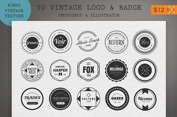 50 Vintage Logo & Badge  by sagesmask on @creativemarket