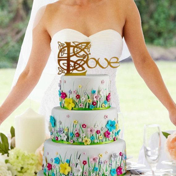 On Sale This Weekend Only Gold Celtic Wedding Cake Topper
