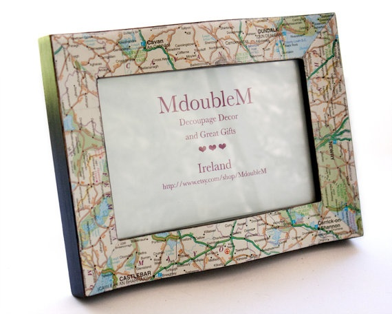 Irish Map Frame 4x6 decoupaged picture frame with by MdoubleM, $17.50 | Great Gifts & Awesome ...